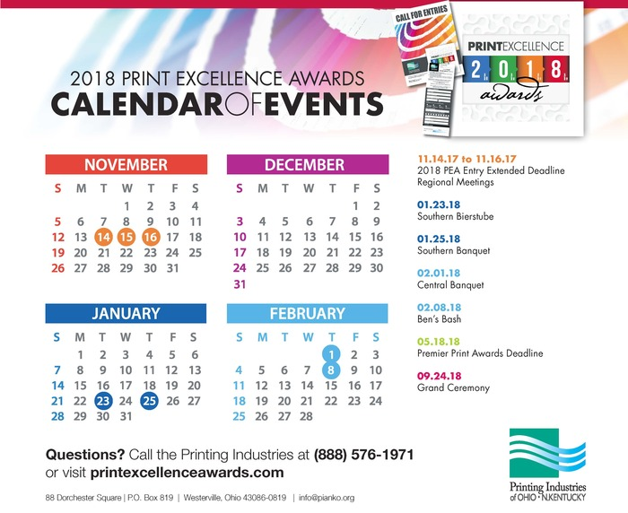 2018 PEA and Print Week Calendar of Events